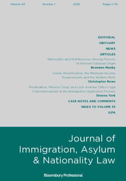 Journal of Immigration, Asylum & Nationality Law